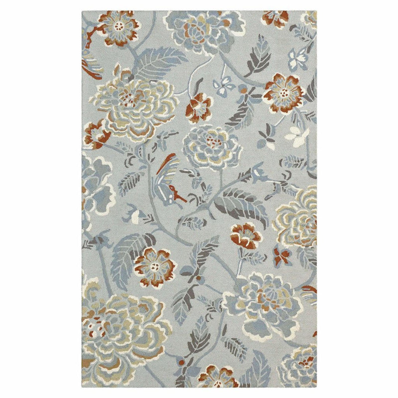 Colorfields Hana Hand Tufted Floral Wool Rug, Platinum-Rugs-Colorfields by Company C-2' x 8' Runner-Heaven's Gate Home