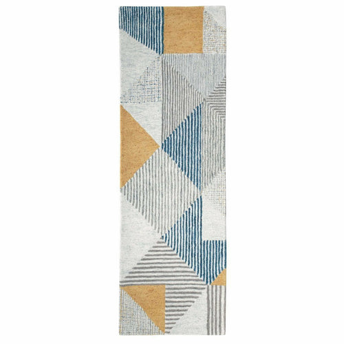 Company C Griffin 100% Wool Hand Tufted Rug, Blue-Rugs-Company C-3' x 8' Runner-Heaven's Gate Home