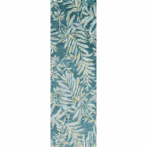 Company C Breezy 100% Wool Hand Knotted Rug, Teal-Rugs-Company C-3' x 8' Runner-Heaven's Gate Home