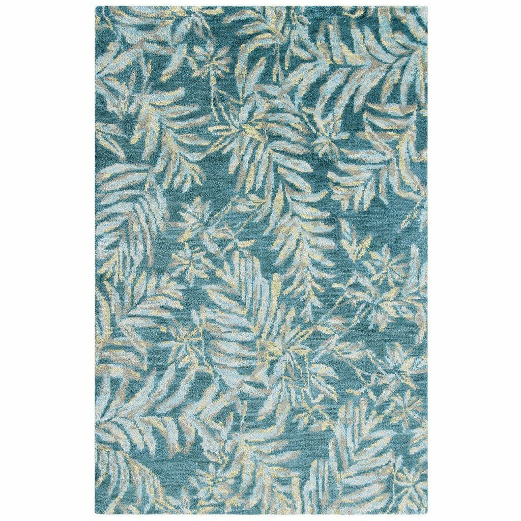 Company C Breezy 100% Wool Hand Knotted Rug, Teal-Rugs-Company C-3