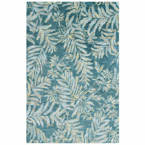 Company C Breezy 100% Wool Hand Knotted Rug, Teal