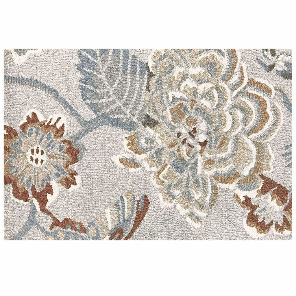 Colorfields Hana Hand Tufted Floral Wool Rug, Platinum-Rugs-Colorfields by Company C-2