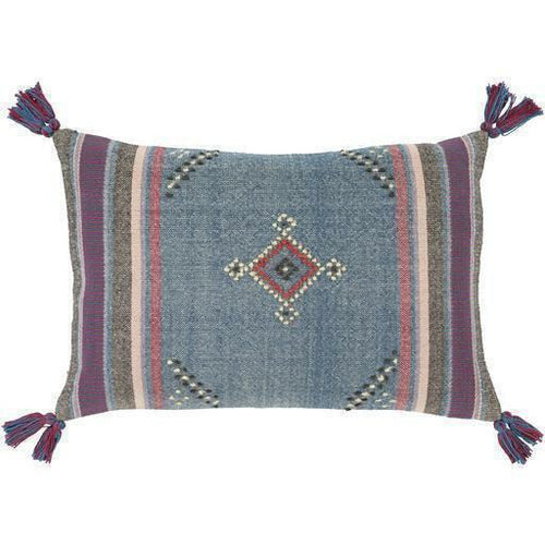 "Surya Darian DRI-001 Cotton Global Pillow-Pillows-Surya-Blue-16"" x 24"" Pillow-Heaven's Gate Home"