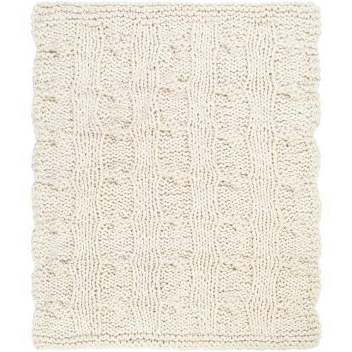 "Surya Denton DTO-1000 Hand Knitted Throw-Throws-Surya-Ivory-50"" x 60"" Throw-Heaven's Gate Home"
