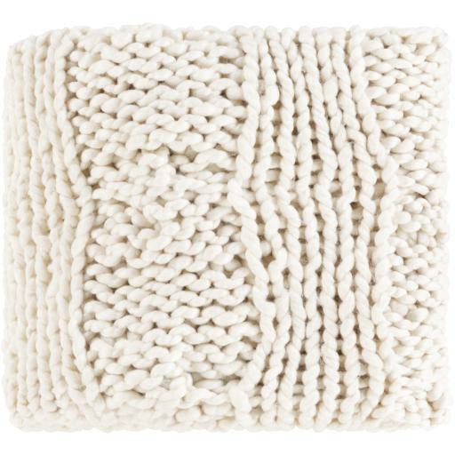 "Surya Denton DTO-1000 Hand Knitted Throw-Throws-Surya-Ivory-50"" x 60"" Throw-Heaven"
