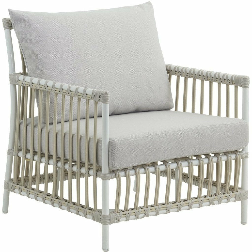 Sika-Design Exterior Caroline Lounge Chair w/ Cushion, Outdoor-Lounge Chairs-Sika Design-Dove White-Sunbrella Sailcloth Seagull Seat and Back Cushion-Heaven's Gate Home