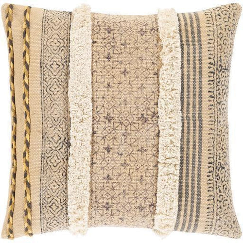 "Surya Dayna DYA-001 Cotton Global Pillow-Pillows-Surya-Tan-18"" x 18"" Pillow-Heaven's Gate Home"