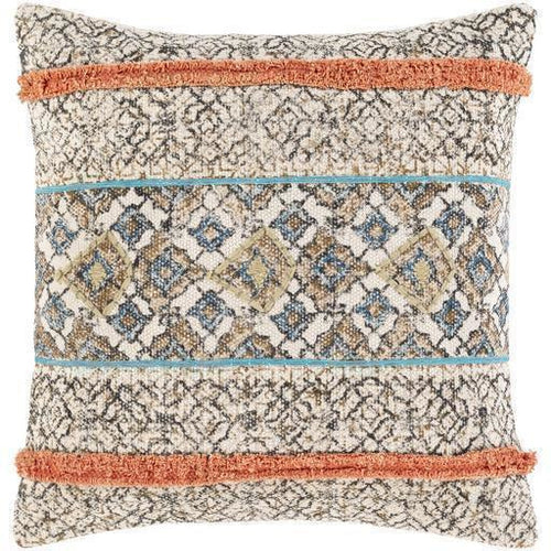 "Surya Dayna DYA-003 Cotton Global Pillow-Pillows-Surya-Tan-18"" x 18"" Pillow-Heaven's Gate Home"