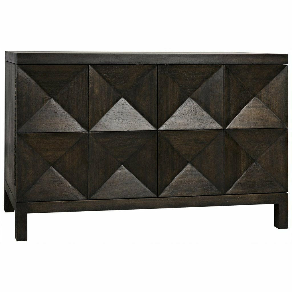 Noir Quadrant 2 Door Walnut Sideboard, Ebony Walnut