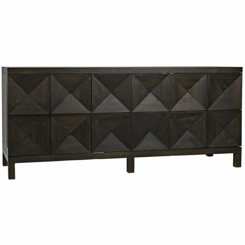 Noir Quadrant 3 Door Walnut Sideboard, Ebony Walnut