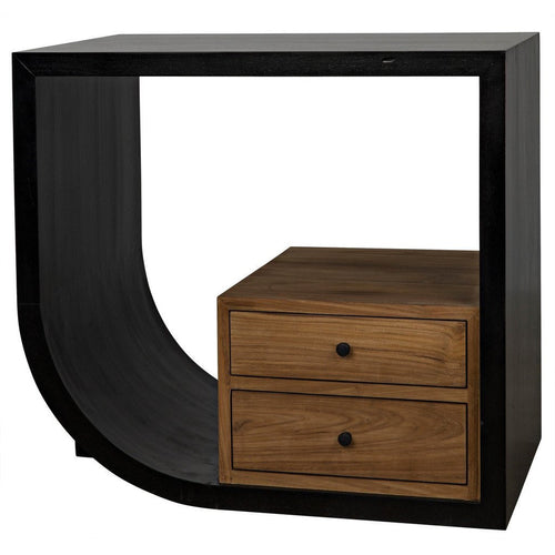 Noir Burton Side Table/Nightstand, Left, Hand Rubbed Black and Teak-Nightstands-Noir Furniture-Heaven's Gate Home
