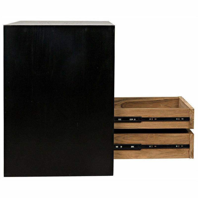 Noir Burton Side Table/Nightstand, Right, Hand Rubbed Black and Teak-Nightstands-Noir Furniture-Heaven's Gate Home