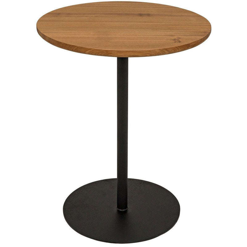 Noir Ford Tall Side Table, Gold Teak with Metal Base-Side Tables-Noir Furniture-Heaven's Gate Home