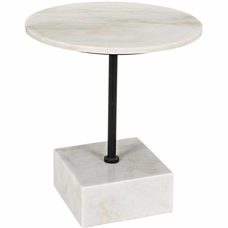 Noir Rodin Side Table, Black Metal Finish with White Stone-Side Tables-Noir Furniture-Heaven's Gate Home