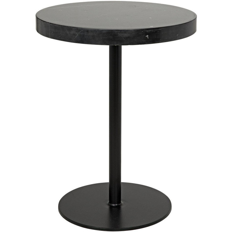 Noir Ford Stone Top Side Table, Black Metal, Tall-Side Tables-Noir Furniture-Heaven's Gate Home