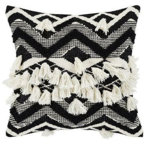 "Surya Gaza GZA-002 Wool Global Pillow-Pillows-Surya-Black-18"" x 18"" Pillow-Heaven's Gate Home"