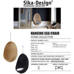 Sika-Design Icons Egg Nanny Ditzel Hanging Chair w/ Cushion, Indoor, Natural or Black-Hanging Chairs-Sika Design-Heaven's Gate Home