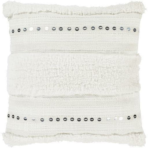 "Surya Handira HDR-001 Microfiber Global Pillow-Pillows-Surya-White-18"" x 18"" Pillow-Heaven's Gate Home"