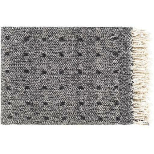 "Surya Hamlet HME-1000 Hand Woven Cotton Throw-Throws-Surya-Black-50"" x 60"" Throw-Heaven's Gate Home"