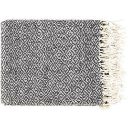 "Surya Hamlet HME-1001 Hand Woven Cotton Throw-Throws-Surya-Black-50"" x 60"" Throw-Heaven's Gate Home"