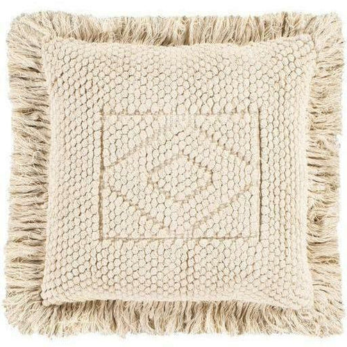 "Surya Hanneli HNL-001 Cotton Global Pillow-Pillows-Surya-Beige-18"" x 18"" Pillow-Heaven's Gate Home"