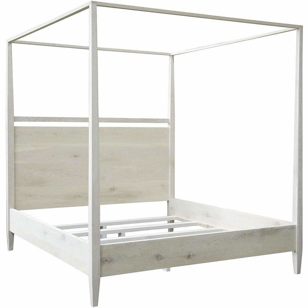 CFC Modern Distressed Washed Oak 4-Poster Bed, Queen *Quick Ship*-Beds-CFC-Heaven