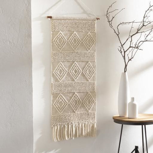 "Surya Hygge HYG-1002 Hand-Woven Wall Hanging, White-Wall Hangings-Surya-44"" x 22""-White-Heaven's Gate Home"