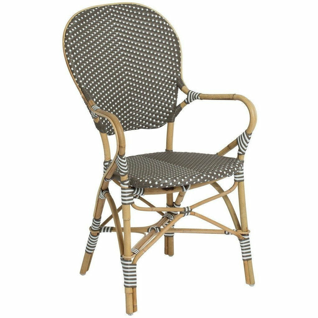 Sika-Design Affaire Isabell Bistro Stacking Arm Chair, Indoor/Covered Outdoor-Dining Chairs-Sika Design-Cappuccino / White Dots-Heaven's Gate Home