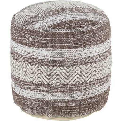 "Surya Levi Woven Cotton Pouf-Poufs-Surya-Brown-16"" x 16"" x 16"" Pouf-Heaven"