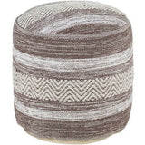 Surya Levi Woven Cotton Pouf-Poufs-Surya-Brown-16