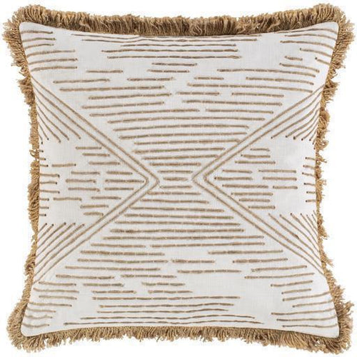 "Surya Jahari JHI-001 Cotton Global Pillow-Pillows-Surya-Tan-18"" x 18"" Pillow-Heaven's Gate Home"