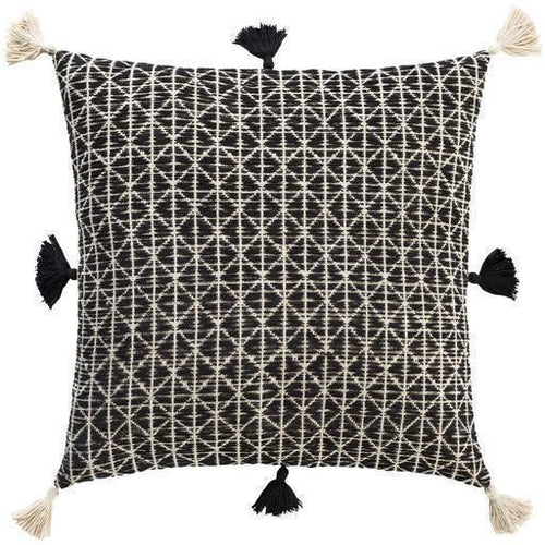 "Surya Justine JTI-002 Cotton Global Pillow-Pillows-Surya-Black-18"" x 18"" Pillow-Heaven's Gate Home"