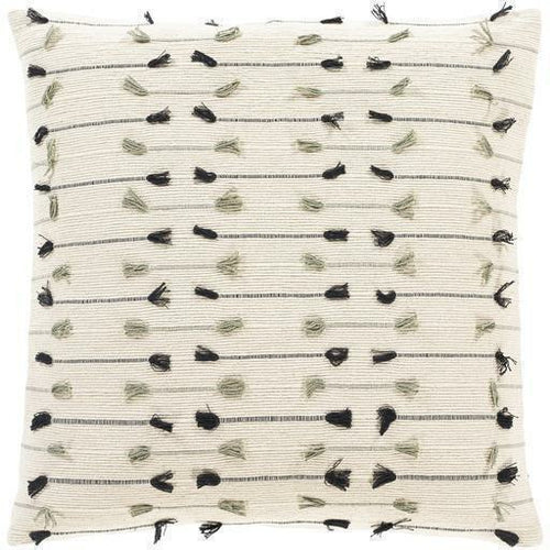 "Surya Justine JTI-003 Cotton Global Pillow-Pillows-Surya-Cream-18"" x 18"" Pillow-Heaven's Gate Home"