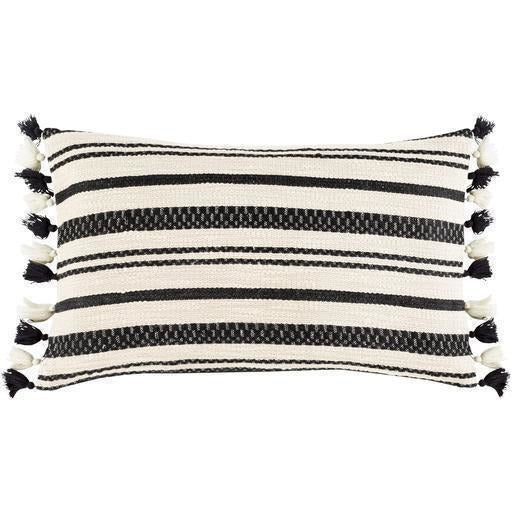 "Surya Justine JTI-004 Cotton Global Pillow-Pillows-Surya-Black-12"" x 20"" Pillow-Heaven's Gate Home"