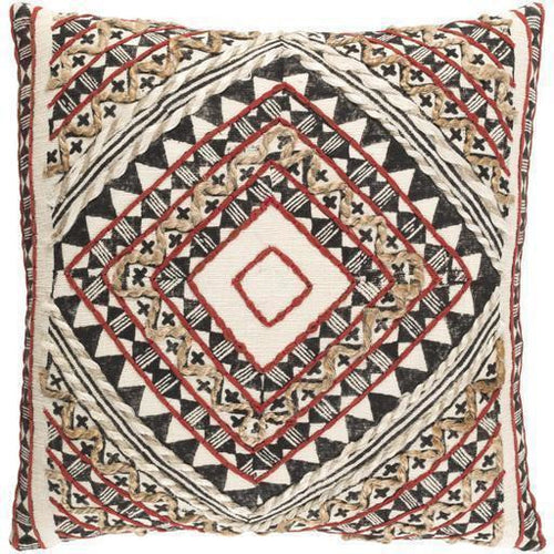 "Surya Kazinga KAZ-001 Cotton Global Pillow-Pillows-Surya-red-18"" x 18"" Pillow-Heaven's Gate Home"