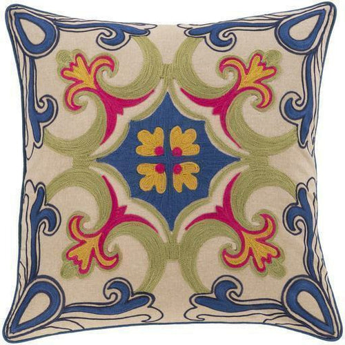 "Surya Khavi KHV-001 Cotton Global Pillow-Pillows-Surya-Blue-18"" x 18"" Pillow-Heaven's Gate Home"