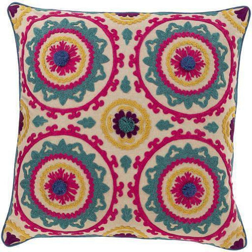 "Surya Khavi KHV-002 Cotton Global Pillow-Pillows-Surya-Pink-18"" x 18"" Pillow-Heaven's Gate Home"