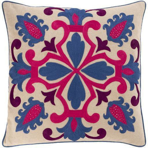 "Surya Khavi KHV-003 Cotton Global Pillow-Pillows-Surya-Blue-18"" x 18"" Pillow-Heaven's Gate Home"