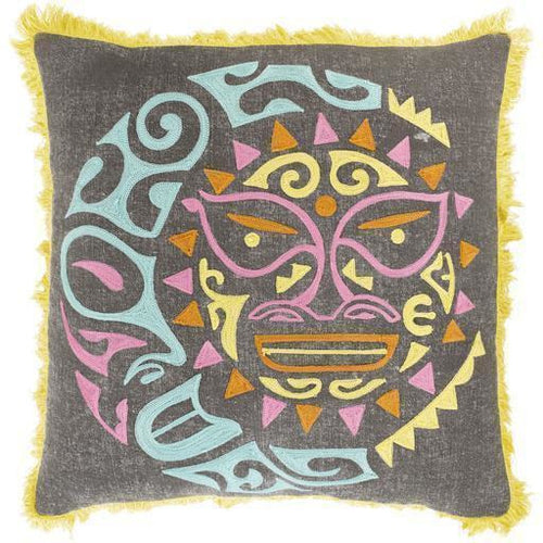 "Surya Kiko KKO-001 Cotton Global Pillow-Pillows-Surya-Gray-18"" x 18"" Pillow-Heaven's Gate Home"