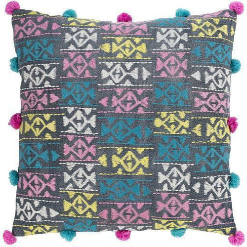 "Surya Kiko KKO-002 Cotton Global Pillow-Pillows-Surya-Blue-18"" x 18"" Pillow-Heaven's Gate Home"
