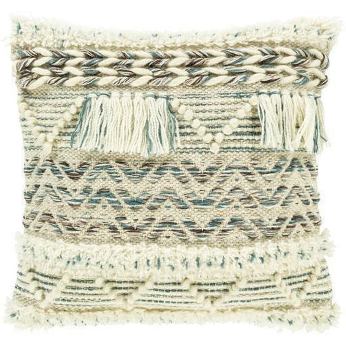 "Surya Karina KRN-002 Wool Global Pillow-Pillows-Surya-Cream-18"" x 18"" Pillow-Heaven's Gate Home"