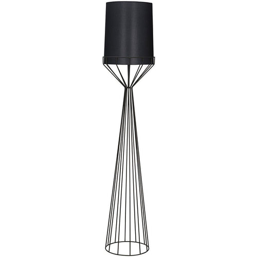 Noir Portal Tapered, Push-Button Floor Switch Floor Lamp, A, Black Metal-Floor Lamps-Noir Furniture-Heaven's Gate Home