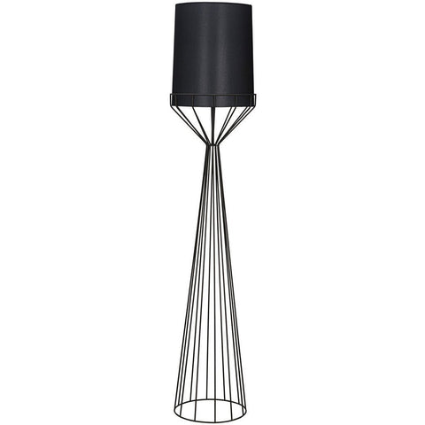 Noir Portal Tapered, Push-Button Floor Switch Floor Lamp, A, Black Metal