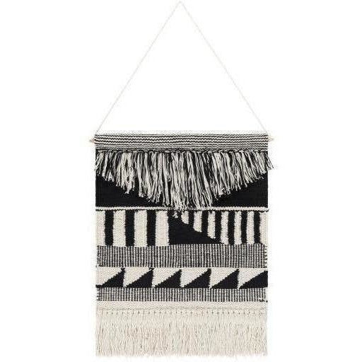 "Surya Latham LAT-1000 Hand-Woven Wall Hanging-Wall Hangings-Surya-22"" x 17""-Black-Heaven's Gate Home"
