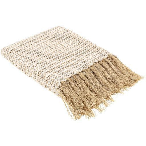 "Surya Lanie LNI-1000 Knitted 100% Cotton Throw-Throws-Surya-Ivory-50"" x 60"" Throw-Heaven's Gate Home"