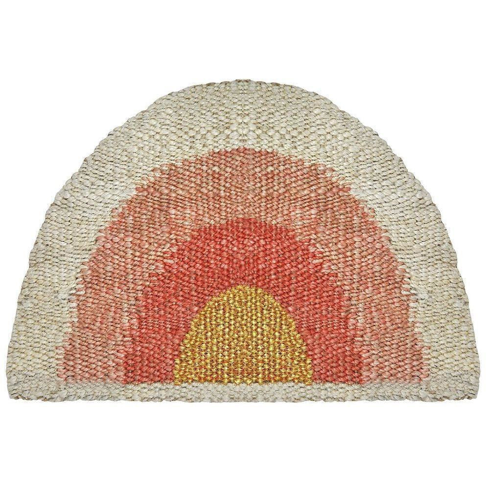 "Langdon LTD Aquarius Round Doormat- Coral/Peach/Gold-Doormats-Langdon, LTD-18"" x 30""-Coral-Heaven"