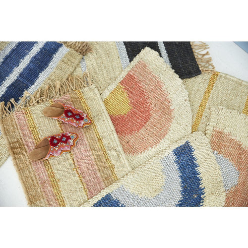 "Langdon LTD Peachy Stripe Jute Doormat, Gold Threads and Fringe-Doormats-Langdon, LTD-20"" x 30""-Peach-Heaven's Gate Home"