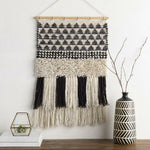 "Surya Merida MEA-1001 Hand-Woven Wall Hanging-Wall Hangings-Surya-32"" x 20""-Black-Heaven's Gate Home"