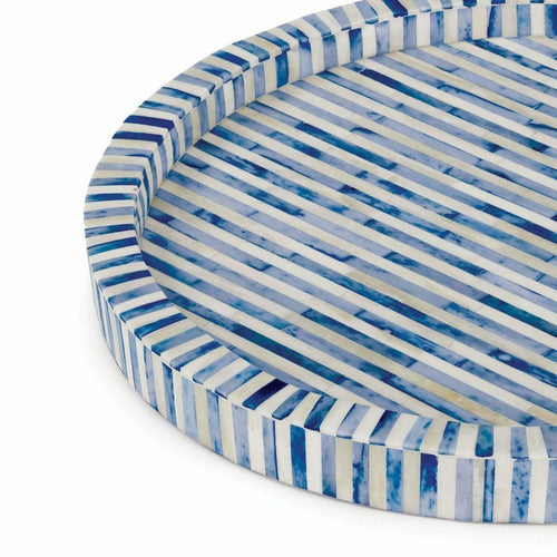 Regina Andrew Bone and Indigo Tray, Round, Natural
