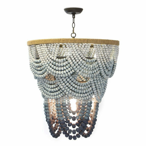 Coastal Living Ombre Wood Bead Chandelier-Chandeliers-Coastal Living-Heaven's Gate Home